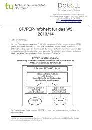 OP/PEP-Infoheft für das WS 2013/14 - DoKoLL - TU Dortmund
