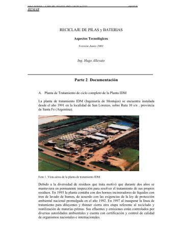 Reciclaje de pilas y baterias: aspectos tecnológicos - BVSDE