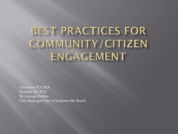 Best Practices for Community Engagement - Florida City and County ...