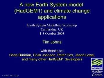 Tim Johns (Hadley - Atmospheric Dynamics Group
