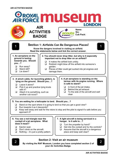 Air Activities Badge Worksheet
