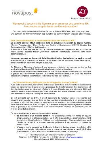 Novapost s'associe à De Gamma pour proposer des ... - CXPLACE