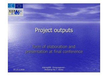 Project outputs - Donauregionen