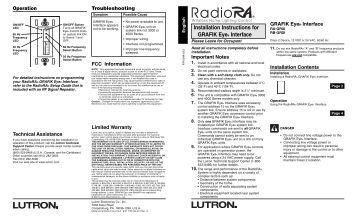 GRX-IO and OMX-IO Control Interfaces GRAFIK Systems