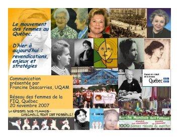 Le mouvement des femmes au Québec. D'hier à aujourd'hui ... - FiQ