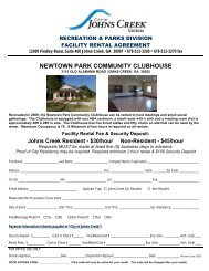 City of Johns Creek Community Clubhouse Rental Agreement