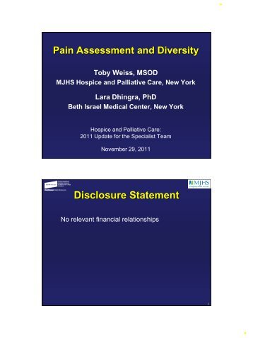 Disclosure Statement - Department of Pain Medicine and Palliative ...