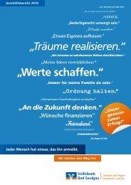 """""""Werte schaffen."""" """"Träume realisieren."""" - Volksbank Bad Saulgau eG"""
