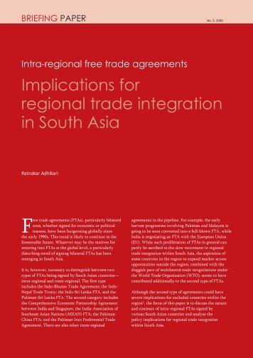 Implications for regional trade integration in South Asia