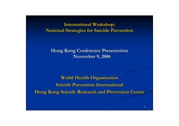 National strategies for Suicide Prevention Project : An Overview
