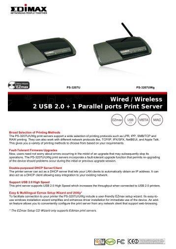 2 USB 2.0 + 1 Par Wired / Wireless rallel ports Print Server - Edimax.eu