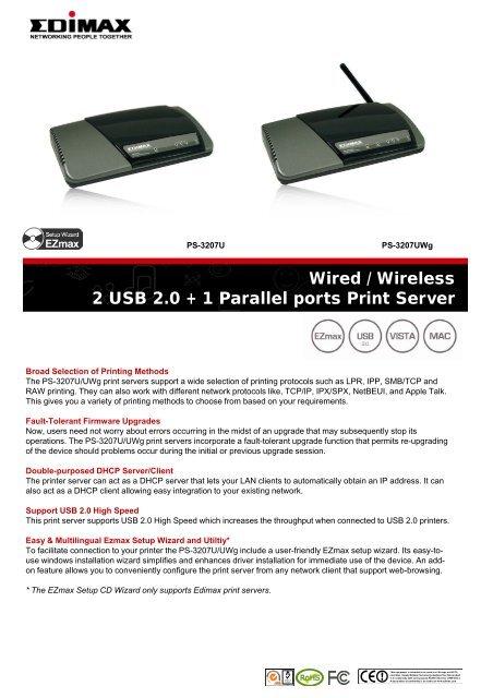 EDIMAX PRINTSERVER PS-3207U DRIVER FOR WINDOWS