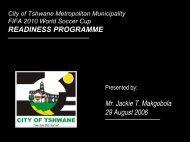 City of Tshwane Metropolitan Municipality FIFA 2010 World
