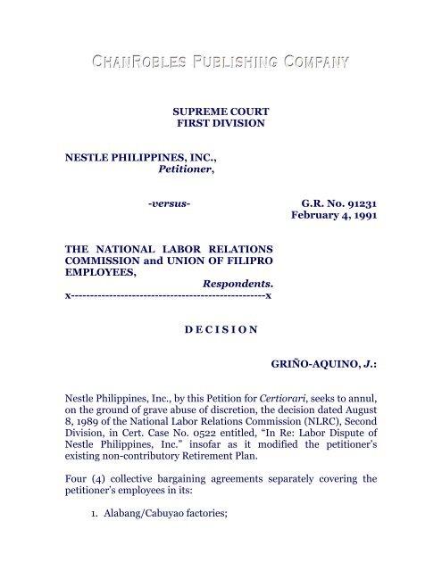 Nestle Philippines Inc Vs Nlrc G R No 91231 Feb 4 1991