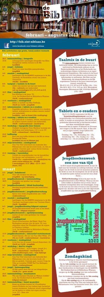 Agenda februari – augustus 2013 - Stad Sint-Niklaas