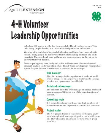 4-H Volunteer Leadership Opportunities - Texas 4-H and Youth ...