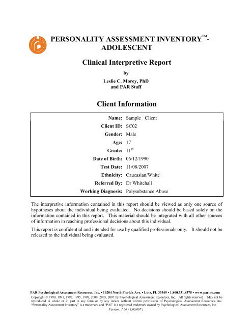 PERSONALITY ASSESSMENT INVENTORY     - ACER