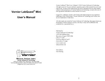 Vernier LabQuest Mini User's Manual - Vernier Software & Technology