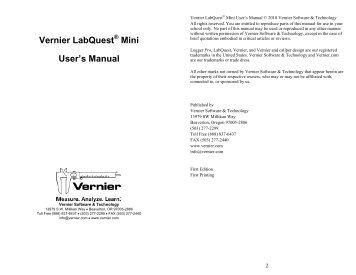 Vernier LabQuest Mini User's Manual - Vernier Software & Technology