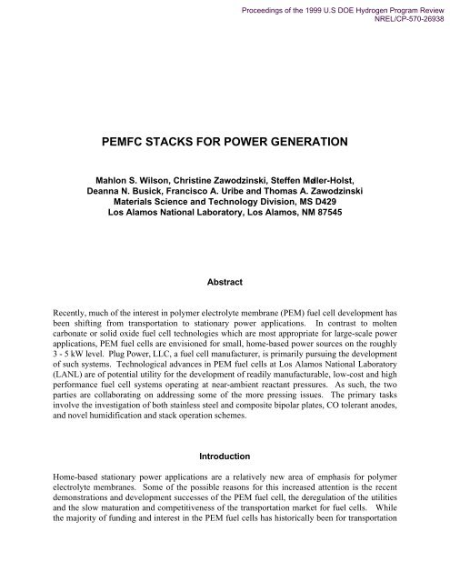 PEMFC Stacks for Power Generation - EERE