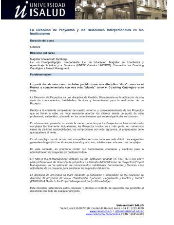La Dirección de Proyectos y las Relaciones Interpersonales en las ...
