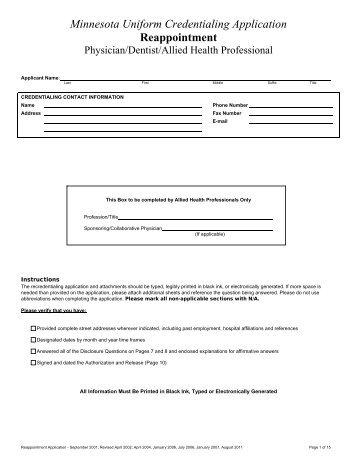 minnesota uniform credentialing application georgia uniform healthcare practitioner credentialing application ...