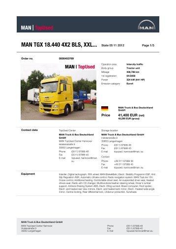 MAN TGX 18.440 4X2 BLS, XXL... State 03 10 2012 -  MAN TopUsed