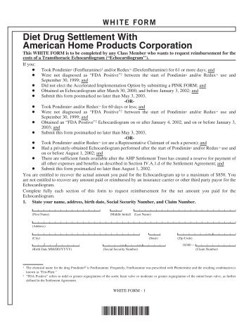 Diet Drug Settlement With American Home Products Corporation