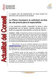 La Plana incorpora la solicitud on-line de cita previa para el ...