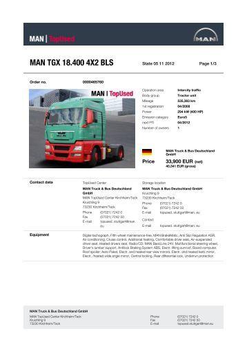 MAN TGX 18.400 4X2 BLS - MAN TopUsed