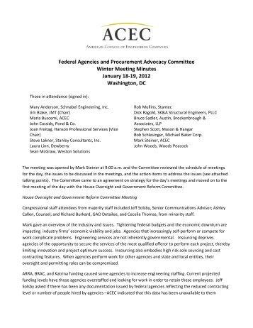 Winter Committee Meeting Minutes — Jan. 18-19, 2012