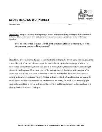 """Close Reading"" worksheet - EDSITEment"