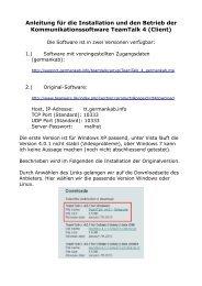 Anleitung für die Installation und den Betrieb der ...