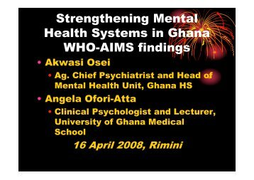 Strengthening Mental Health Systems in Ghana WHO ... - Cittadinanza