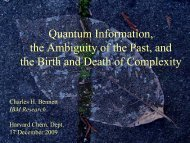 Quantum Information, the Ambiguity of the Past, and the Birth ... - PiTP