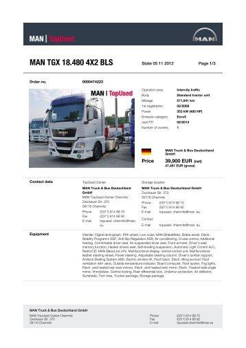 MAN TGX 18.480 4X2 BLS - MAN TopUsed
