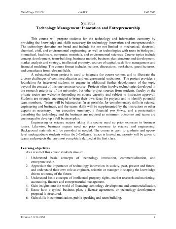 Syllabus Technology Management: Innovation and ... - PageOut