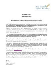 Download this media release - Real Estate Agents Authority