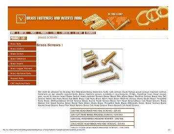 Brass Screws : - Brass Fasteners Inserts