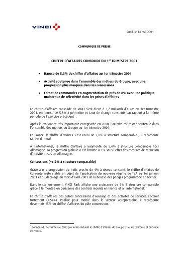 CHIFFRE D'AFFAIRES CONSOLIDE DU 1er TRIMESTRE 2001 - Vinci
