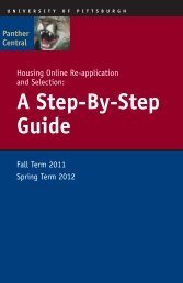 A Step-By-Step Guide - Panther Central - University of Pittsburgh