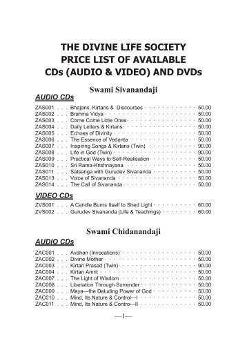 CD and DVD Catalogue in PDF - The Divine Life Society
