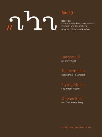 Januar 11 33.000 Verteilte Auflage - aha-Magazin