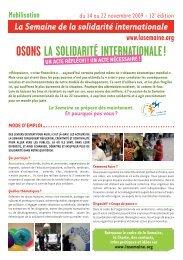 OSONS LA SOLIDARITÉ INTERNATIONALE! - La Semaine de la ...