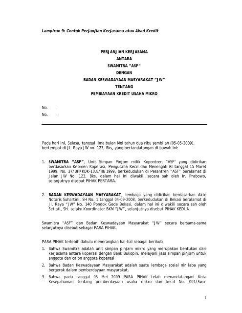 Lampiran 9 Contoh Perjanjian Kerjasama Atau Akad Kredit