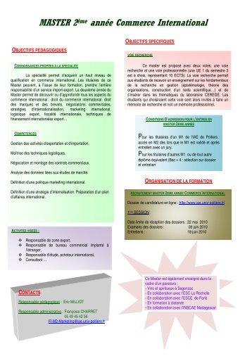 Cv master arbitrage commerce international - Chambre de commerce de poitiers ...