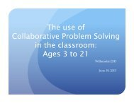 The use of Collaborative Problem Solving in the classroom - Cosa