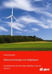 2 beskrivning av vindkraftprojekt midsommarberget och ... - E-on