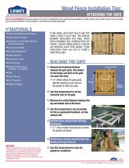 ATTACHING THE GATE Wood Fence Installation Tips - Lowe's