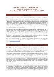 La cultura política de la democracia en Bolivia, 2008